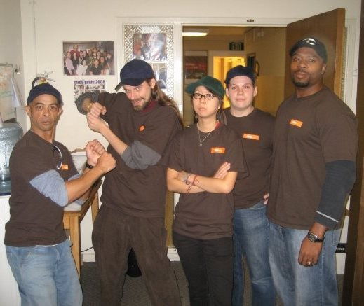 Doug Gaines, myself, Barbara Lin, Jesse Mendeola, and Burgious Frazier after briefly simulating a baseball game in Glide T-shirts on an intersection in the Tenderloin, c. 2008.