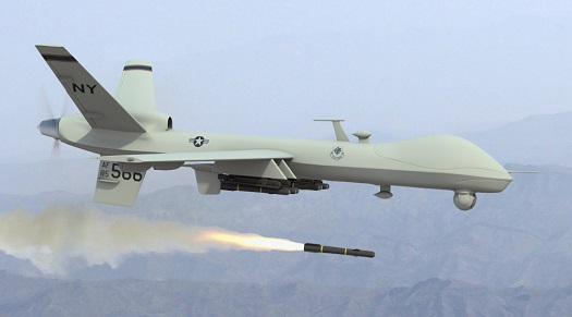 A predator drone off the coast of Liberia launches an initial missile into an ebola-infected village.