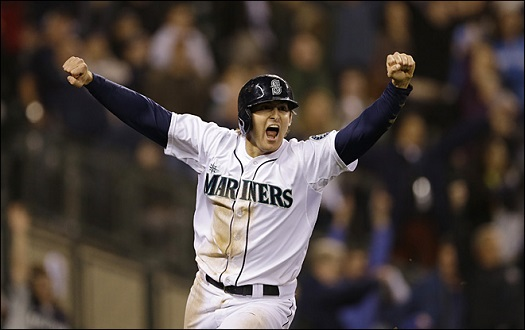 Brad Miller scores the winning run and looks less excited than I did at this moment.