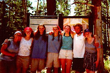 My unbelievably grainy scan of the mid-trip photo of our Rim to Rim to Rim journey in 2000.  Taken atop the North Kaibab Trail.  Left to right: Stina, Andrea, myself, Sarah, Patricia, Chris, and Marketa.