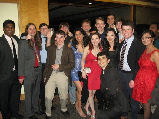 A very giddy and relieved Rutgers team at the Nationals 2014 banquet at UPenn after Sean and Quinn had broken as the 14-seed.