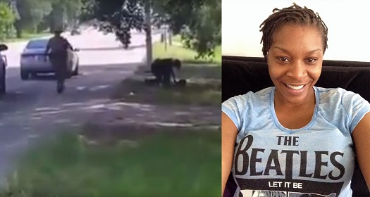 Sandra Bland, right, with the incident that precipitated her death, left.  You know her name because and only because someone filmed the incident.